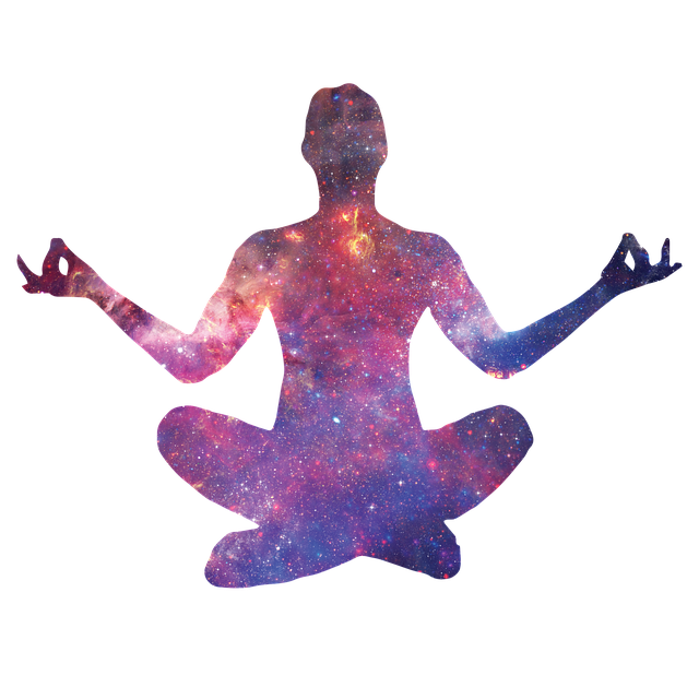 Man in Yoga Zen Lotus position silhouetted with Cosmos-Space Background