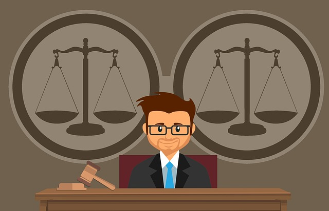 Cartoon of scales of justice with judge