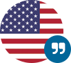 American flag icon with quotation marks