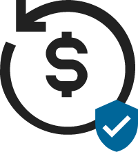 Chargeback Authorized icon with dollar sign and a blue security mark