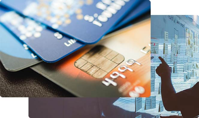 Blue and orange credit cards piled on each other over another image of a man pointing at a post-it board