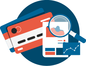 Icon of a magnifying glass on a graph with credit cards in the background