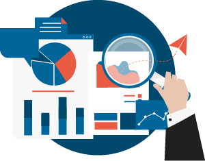 Icon of man with magnifying glass examining a pie graph and flow diagram on a document representing expertise