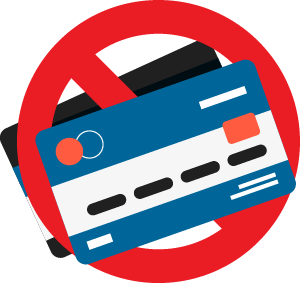 credit cards with a cancel/no-entry sign