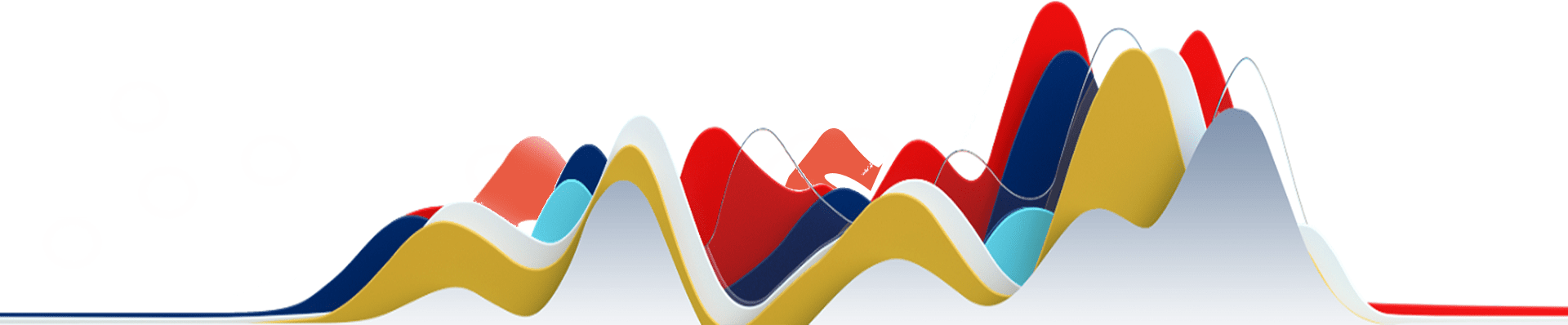 Colored 3d line graph with yellow, dark blue, red, aqua and white troughs and peaks of a graph