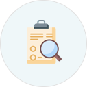 Icon of magnifying glass over clipboard with info