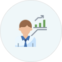 Icon of man with graph bars upward growth